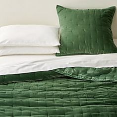 Audra Green Velvet Full/Queen Quilt at Crate and Barrel Canada. Discover unique furniture and decor from across the globe to create a look you love. Grey Velvet Bed, Green Velvet, Green Bedding, Bedroom Green, Master Bedroom, Olive Bedroom, Brick Bedroom, Beige Bed Linen, Velvet Quilt
