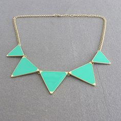 $3.46 Vivid Colored Glazed Triangle Pendant Alloy Sweater Chain Necklace For Women