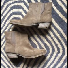 """Nine West Taupe Suede """"Sloane"""" Ankle Boots Good condition, inside zip, extremely comfortable. Suede upper in great shape, some marks on the heels, see pics. 1.5"""" heel. Runs true to size Nine West Shoes Ankle Boots & Booties"""