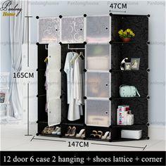 2016 Panlonghome Penyimpanan sederhana Lemari kain lemari kain dewasa perakitan plastik asrama mahasiswa tunggal pakaian kabinet