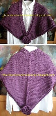 Chal con agujas circulares y flor en crochet - Knitted shawl & crocheted flowers