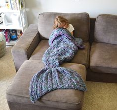 Mermaid Blanket, Mermaid Tail, Crochet Blanket, Mermaid Throw Blanket, Child, adult, toddler, Mermaid Tail Cacoon, Pink/Teal, Purple/Teal