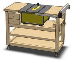 J'ai acquis en février 2013 une scie sur table DeWalt DW745 afin qu'elle prenne désormais en charge les coupes de l'atelier. La scie est de dimensions raisonnables, mais une station d'accueil offrirait une surface de travail supplémentaire, ainsi que des rangements pour les accessoires. J'ai donc