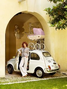 Fiat 500 + pram - it is possible! Fiat 500 Pop, Fiat 126, Lamborghini, Ferrari, My Dream Car, Dream Cars, Peugeot, Jaguar, Vespa