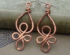 Celtic Loops Copper Wire Earrings Celtic por nicholasandfelice