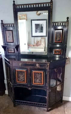 19th Century Lamb of Manchester Aesthetic Movement Ebonised Cabinet WWW.HUTCHISONANTIQUES.COM