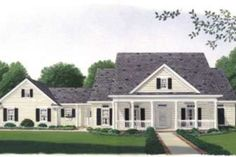 Find your dream country style house plan such as Plan which is a 1990 sq ft, 3 bed, 2 bath home with 2 garage stalls from Monster House Plans. Open Floor House Plans, Porch House Plans, Basement House Plans, House Plans One Story, Bedroom House Plans, Small House Plans, Floor Plans, House Floor, Southern Farmhouse