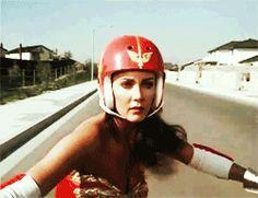 wonder woman skateboard gif