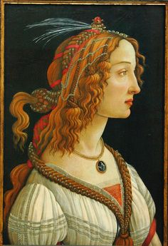 Sandro Botticelli. Idealized Female Portrait (Portrait of Simonetta Vespucci as a Nymph). dated between 1445-1510. paint on poplar panel.