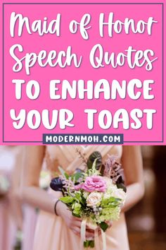Want to take your wedding toast to the next level? Check out our 35 maid of honor speech quotes guaranteed to get glasses clinking! #maidofhonortoastquotes #maidofhonorspeechquotes #ModernMaidofHonor #ModernMOH Honor Quotes, Sister Quotes, Best Friend Quotes, Maid Of Honor Toast, Maid Of Honor Speech, Successful Marriage, Wedding Toasts, New Wife, Sweet Quotes