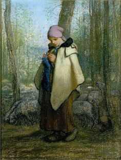 """The Knitting Shepherdess"", c. 1856, by Jean-François Millet (French, 1814-1875)  ArtExperienceNYC   www.artexperiencenyc.com"