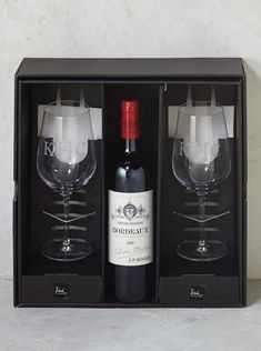 Your gift of lead-free crystal Salud Bordeaux Glasses arrives personalized and in a gift box, sized for your favorite varietal. Just add a bottle to complete your gift. Elegantly crafted and engineered for break resistance.