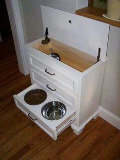 Refurbished dresser into feeding station.