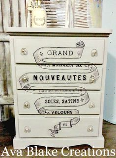 Repainted Dresser using graphic transfers from The Graphics Fairy