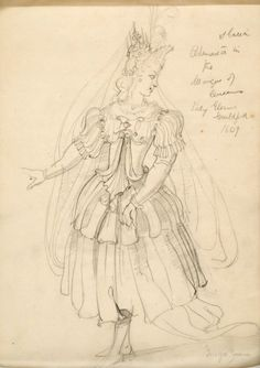 Costume by Iñigo Jones for the Masque of Queens representing Artemisia. Twelve queens (masque) frightened away the witches (antimasque) who wanted to bring the chaos to the world.