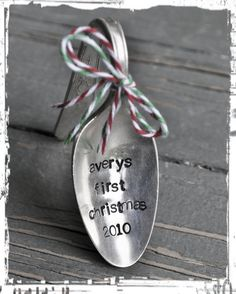 Babies First Christmas- Personalized Vintage Spoon Christmas Ornament by jessicaNdesigns on Etsy $13.50 (this is something I want down the road when babies are actually on the way)
