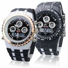 Big Dial Waterproof Sport Watch With Dual Time/Stopwatch/Week/Alarm/Calendar/EL Backlight - Black/Go  http://tripleclicks.com/12111575/detail.php?item=187355