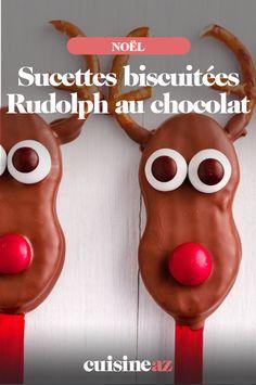Ces sucettes biscuitées Rudolph au chocolat sont une pâtisserie qui plaira aux enfants lors des fêtes de Noël. #recette#cuisine#biscuit #enfant#patisserie #chocolat #noel#fete#findannee #fetesdefindannee 20 Min, White Chocolate Chips, Sweet Cookies, Pretzels, Recipes