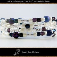 Items similar to Wrap around, beaded bracelet with blue sodalite round beads, white seed beads, blue and dark blue glass beads, and milky glass crystals on Etsy Beaded Jewelry, Beaded Bracelets, Unique Jewelry, Rose Design, Round Beads, Calming, Seed Beads, Spiral, Glass Beads