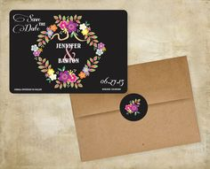 Floral Wreath Save the Date with Chalkboard background