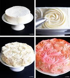 Rose cake icing tips Cakes To Make, Cakes And More, How To Make Cake, Cake Decorating Tips, Cookie Decorating, Köstliche Desserts, Delicious Desserts, Rose Cake Tutorial, Cake Icing