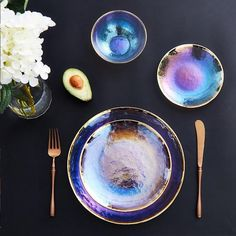 Luxury Rainbow Glass Dining Collection - Ceramic Plates by Ceramic plates designs that suit your lifestyle Hand painted modern designs full of life that will elevate your dining experience Apollo Box, Rainbow Glass, Large Plates, Plate Design, Deco Table, Flatware Set, Ceramic Plates, My New Room, Home Decor Accessories