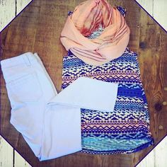Spring Outfit, I love bright colors and Aztec prints!