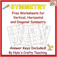 Free Symmetry Worksheets with answer keys #math