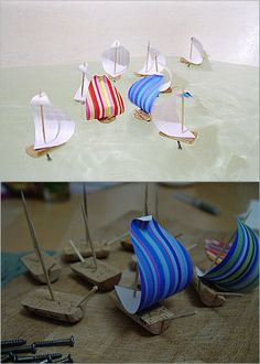 DIY Sailboats. Corks, paper, screws and toothpicks.