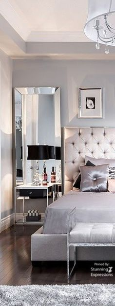 The Chic Technique: Classic Bedroom in silver and black with lots of shiny stuff.