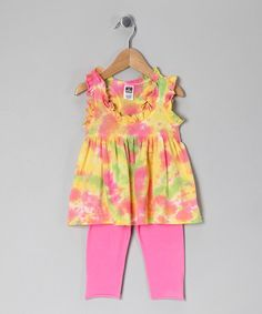 Take a look at this Yellow & Pink Olivia Tunic & Leggings - Toddler & Girls by Out of Control on #zulily today!