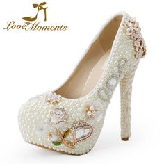 Love Moments pearl white fashion woman wedding pumps women's high heel wedding bridal shoes rose flower large size