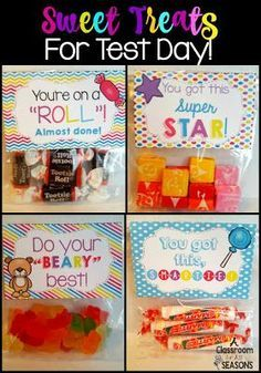 Some Sweet Treats for Testing Motivation! Gifts for students from teachers. Free printables included!
