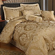 @Overstock.com - Halifax 7-piece Gold Comforter Set - This gold seven-piece comforter set will rejuvenate your bedroom with elegance and sophistication. This complete set features a cotton blend lining with a beautiful contemporary pattern that will enhance your bed with style and comfort.  http://www.overstock.com/Bedding-Bath/Halifax-7-piece-Gold-Comforter-Set/3816708/product.html?CID=214117 $69.99
