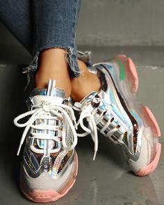 ivrose / Glitter Colorblock Breathable Lace-up Sneakers Trend Fashion, Estilo Fashion, Womens Fashion Sneakers, Womens Fashion Online, Yeezy Sneakers, Shoes Sneakers, Converse, Sneaker Heels, Online Shopping For Women