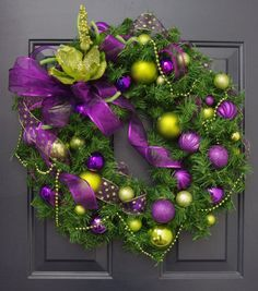 Christmas DIY: Christmas wreath in Christmas wreath in purple and lime green by PinkLimeWreaths $120.00 #christmasdiy #christmas #diy