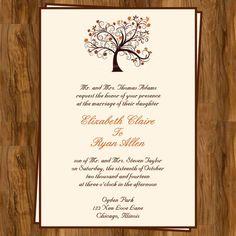 Autumn Wedding Invitation with Fall Tree