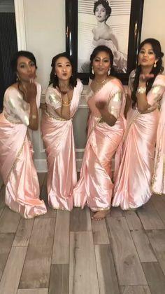 Indian Bridesmaid Dresses, Blush Pink Bridesmaids, Bridesmaid Saree, Wedding Dresses, Satin Saree, Pink Saree, Silk Satin, Plus Size Mini Dresses, Glam Photoshoot