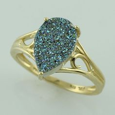 Green Drusy 2.69 Ct Genuine Ring 10K Yellow Gold Awesome Ladies Occasion Jewelry #SGL #ExclusiveCollection