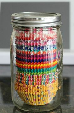 I am doing mason jars for all the storage I can in this house – easy way to store cupcake liners! Home Improvement & Organization Ideas.This is a great idea! Kitchen Pantry, Kitchen Storage, Kitchen Decor, Smart Kitchen, Crazy Kitchen, Kitchen Tips, Organized Kitchen, Kitchen Ideas, Kitchen Cabinets