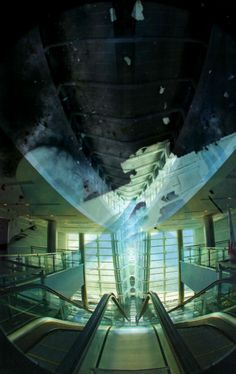 This image is about a soldier coming home from way... I made a negative image of a soldier in Afghanistan firing his weapon over an embankment, and superimposed it on an almost alien-looking picture of an escalator in an airport terminal. The final result is chaotic as the two images don't juxtapose well, but I guess that was the point I was trying to get across...