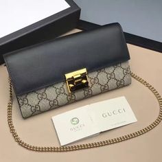 d1f9a867433 Gucci Padlock GG Supreme Continental Chain Wallet Bag 453506 Black 2017
