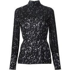 Yigal Azrouel floral print peplum blouse ($790) ❤ liked on Polyvore featuring tops, blouses, black, silk print blouse, silk blouse, silk top, silk peplum top and floral tops