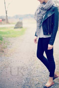 leather jacket, becksöndergaard scarf