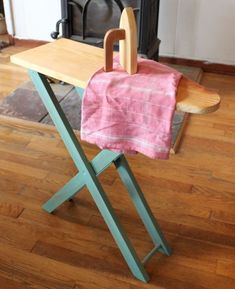 DIY Child Sized Ironing Board - Duo Fiberworks for Prudent Baby Diy Play Kitchen, Toy Kitchen, Play Kitchens, Diy For Kids, Gifts For Kids, Wooden Ironing Board, Little Boy And Girl, Homemade Toys, Doll Furniture