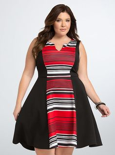 Striped Scuba Skater Dress, THIS IS YOUR STRIPE