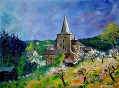Romanesque Church In Celles - Houyet Painting