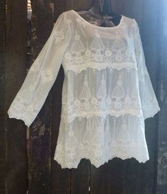 tupelo boho tunic embroidered lace mini dress by cypressavenue, $65.00