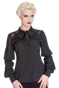 Gothic Victorian Romance Black Chiffon Bishop Long Sleeve Blouse - Plus Size