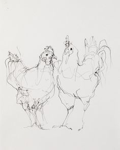 """Chickens (Two)"" Artist: Susan Siegel x Sumi Ink on Paper 2012 Bird Drawings, Animal Drawings, Animal Sketches, Drawing Sketches, Art And Illustration, Arte Grunge, Sheep Drawing, Scribble Art, Contour Drawing"
